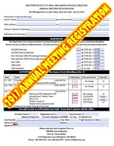 Deer Valley Registration form