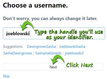 choose a username